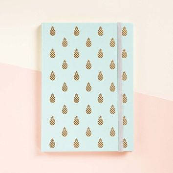 Pineapple Gold Foil Journal in Teal Color (Can be use as Diary or Planner) • Notebook • Writing Journal • Diary • Bridesmaid Gift • Travel Planner • Travel Journal • To do List • Daily Planner • 2017