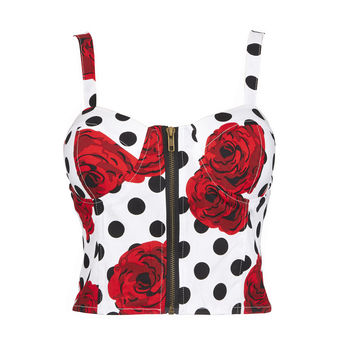 2017 Sexy Charms Camisole Corset Crop Top Women Zipper Backless Lovely Flower Corset Trendy New Style Summer Tops For Female