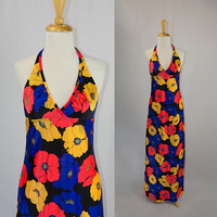 Vintage 1970s Halter Maxi Dress Wild Floral Print Day Glow Colors Swimsuit Cover Up