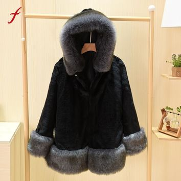 Feitong 2017 New Faux Fur Coat Women Winter Warm Long Sleeve Parka OutwearLong Slim Casual  Fox Fur Coat Women Clothings