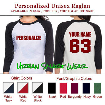 Personalize your Shirt Number Jersey. Personalized Raglan | Sport Team Football Basketball Baseball Softball Soccer Hockey Volleyball 10168