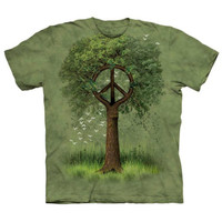 ROOTS OF PEACE Sign Symbol The Mountain Hippie Tree Earth Retro T-Shirt S-3XL