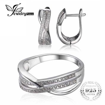 Jewelrypalace Two-Line Stones Infinity Ring Earring Anniversary Wedding Engagement 925 Sterling Silver Jewelry Set Fine Jewelry