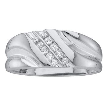 14k White Gold Round Diamond Men's Lightweight 2-row Channel-set Wedding Band 1/8 Cttw - FREE Shipping (US/CAN)