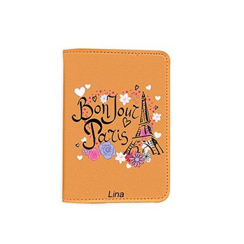 Bonjour Paris [Name Customized] Travel Leather Passport Holder - Passport Protector - Passport Cover - Passport Wallet_SUPERTRAMPshop
