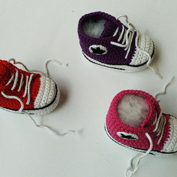 Crochet baby sneakers, Crochet baby girl shoes, Crochet Converse sneakers, Crochet booties, Baby girl sneakers, Toddler shoes