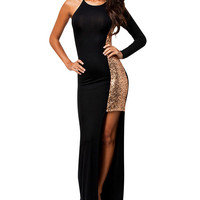 Black Sequined Maxi Dress with Slit