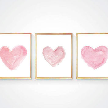 Pink Nursery Art, Set of 3 - 8x10 Prints, Pink Watercolor Hearts, Pink Girls Nursery Decor, Pink Nursery Decor, Pink Heart Art, Baby Girl