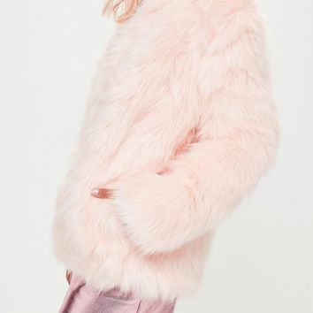 Missguided - Pink Collarless Faux Fur Jacket