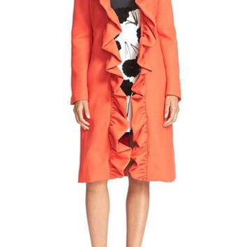 Milly Ruffle Collar Twill Wrap Coat | Nordstrom
