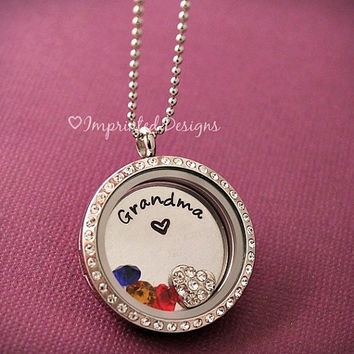 Personalized Locket - Name Of Your Choice - Floating Locket - Mom Locket - Grandma Locket - Birthstone Necklace