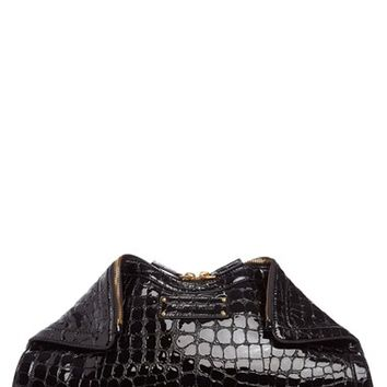 Alexander McQueen 'Large De Manta' Croc Embossed Leather Clutch | Nordstrom