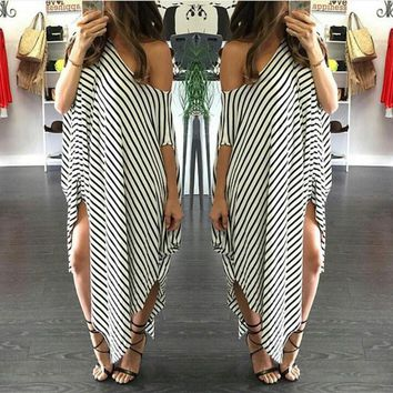 Irregular stripe dew shoulder dress