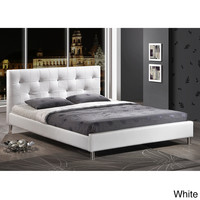 Barbara White Modern Full-size Bed with Crystal Button Tufting  | Overstock.com