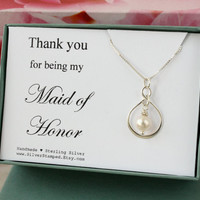 Thank you for being my Maid of Honor Gift sterling silver necklace thank you gift for Maid of Honor, Bridesmaids jewelry, bridal party gift