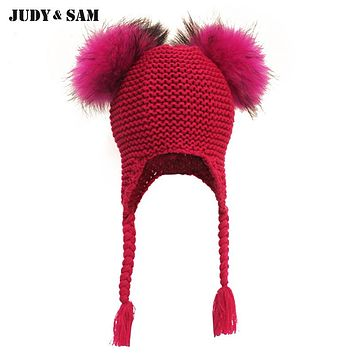 New Baby Hat Autumn Winter Baby Beanie with 2 Real Fur Pompoms Warm Sleep Wool Blend Toddler Cap Kids Clothing Accessories Hat