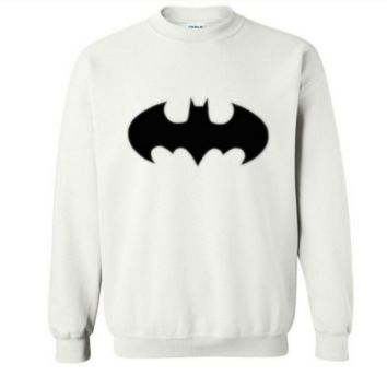 Batman Cartoon Autumn and winter leisure men 's round neck sets of sports sweater White