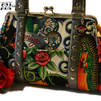 Day of the Dead Purse Contigo Cotton & Silver by HOLDFASThandbags
