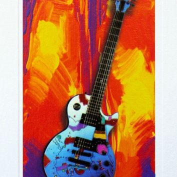 Rock N' Roll Guitar III, Limited Edition Lithograph, Peter Max