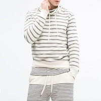 Striped funnel-neck sweatshirt