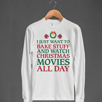 Holiday Baking and Movies | Unisex Long Sleeve Tee | Christmas Shirts