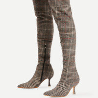 Gingham Print Pointed Toe Lace Up BootsFor Women-romwe