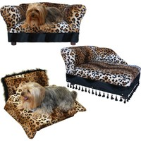 Fantasy Furniture 3 pcs Pet Set; Sofa, Chaise and Bed in Leopard