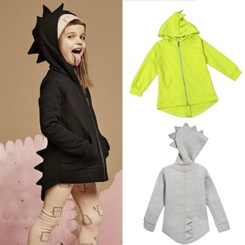 Baby Kids Boys Girl Dinosaur Hooded Coat Jacket Hoodies Zipper Outwear Age 1-7Y
