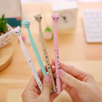 (1Pcs/Sell) 0.5mm Cute Candy Color Bow Cat Gel Ink Pen Maker Pen School Office Supply Escolar Papelaria kawaii
