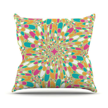 "Miranda Mol ""Flourishing Green"" Green Multicolor Outdoor Throw Pillow"