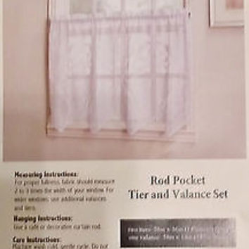 "3 Piece White Scalloped Patterned Lace Like Kitchen Curtain Set With Valance & 36""L Tiers"