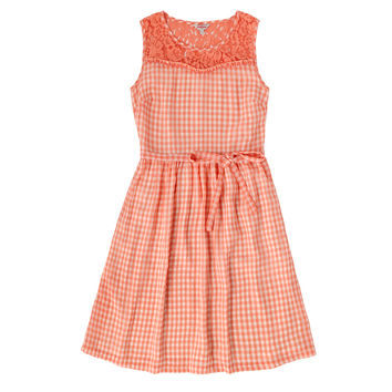 GINGHAM AND LACE DRESS