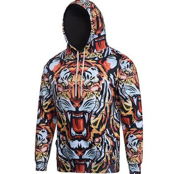 3D The roaring tiger Men Team clothing high quality Street style coat hop sweatshirts hoodies winter Casual moleton masculino