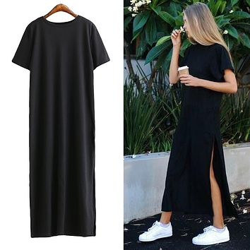 2017 Summer Side High Slit Long Tshirt Women Sexy Dress Fashion Short Sleeves Black Dress large size dresses casual vestidos