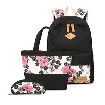 School Backpack 3 pcs school bags for girls chinese style floral printing backpack girl schoolbag flower bag ethnic backpacks for teenage girls AT_48_3