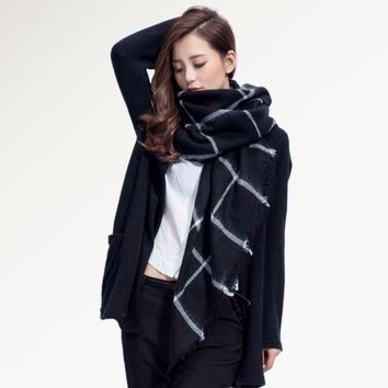 Top quality Winter Scarf Square Plaid Scarf  Designer Unisex Acrylic Basic Shawls Women's Scarves