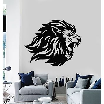 Vinyl Wall Decal Angry Lion Head Predator King Tribal Animal Stickers Mural (g418)