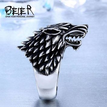 Beier Store Stainless Steel Game Thrones Ice Wolf House Stark Of Winterfell Biker Animal Ring Fashion Jewelry Br8 351