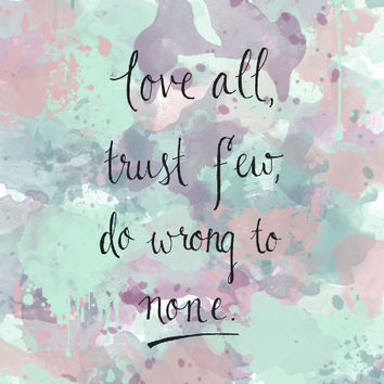 Shakespeare Quote Prints for Girls Room Watercolor Prints - Inspirational Quote Art Print Purple and Teal and Pink Office Wall Art Zen Art