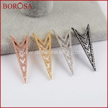 BOROSA 15PCS CZ Micro Pave Arrowhead Connectors,High Quality Drusy Double Charms CZ for Necklaces Pendants Simple Design WX756