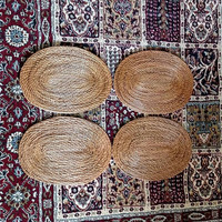 Set of 4 woven placemats / oval rattan brown placemats / boho decor / photo props / rustic placemats / beach house / cottage home