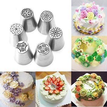 6pcs DIY Flower Pastry Cake Icing Piping Nozzles Decorating Tips Baking Tools Cupcake Bakeware