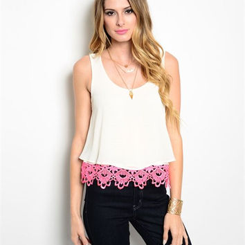 + IVORY NEON PINK TOP