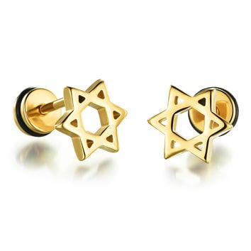 Men's titanium steel plating gold earrings personalized earrings simple hollow hexagram birthday gift GE309    GOLDEN