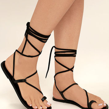 Amuse Society x Matisse Getaway Black Leather Lace-Up Sandals