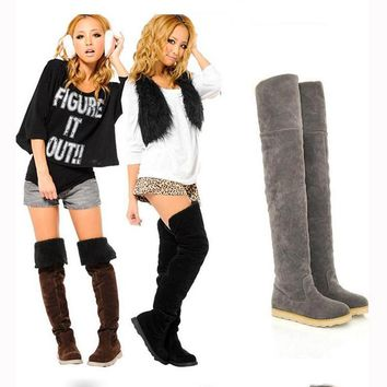 2018 Winter New Style Women Boots Fashion Flat Bottom Boots Shoes Over The Knee Thigh High Faux Suede Female Long Boots