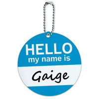 Gaige Hello My Name Is Round ID Card Luggage Tag