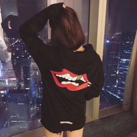LMFONJ. Chrome Hearts' Women Casual Fashion Personality Red Lip Horseshoe Letter Pattern Print Long Sleeve Hooded Sweater Tops
