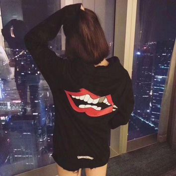 DCCKH3L Chrome Hearts' Women Casual Fashion Personality Red Lip Horseshoe Letter Pattern Print Long Sleeve Hooded Sweater Tops