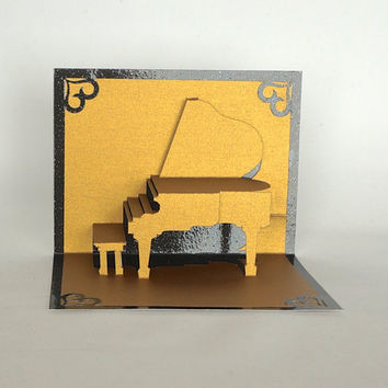 MOTHER'S DAY Grand Piano Elegant 3d Pop Up CARD Home Decor Handmade Hand Cut in Gold and Bright Shimmery Metallic Black One of a Kind